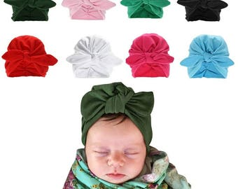 Baby headwrap, bowknot hat, beanie, turban, infant toddler, red, blue, green, white, black, baby blue, sky blue, light blue, pink fuscia