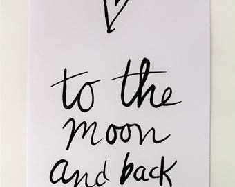 Map | double white A6 card with text '' ' to the moon and back ''