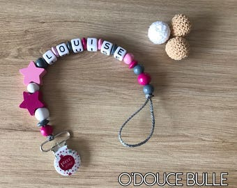 Pacifier clip pink grey and White Star