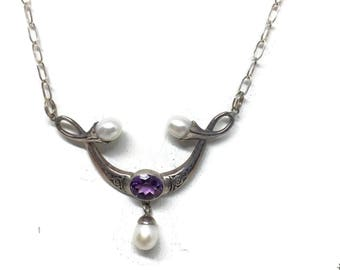 Amethyst and Pearl Necklace Choker Sterling Silver, Bridal Jewelry, Bridal Necklace, Vintage Jewelry, February June Birthstone, Gift for Mom