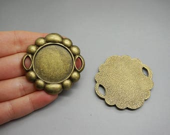 medium round cabochon connector pendant 25mm bronze (W49)
