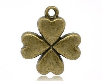 SET of 3 bronze (R06) luck 4 leaf clover charm pendant