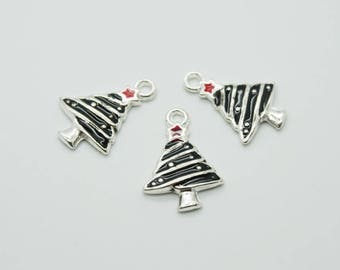 SET of 5 charms silver enameled Christmas tree (D19)