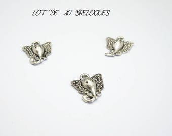 Set of 10 charms small head of elephant color Silver (E03)