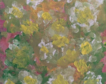Flower blossoms, abstract art, floral, painting on canvas,