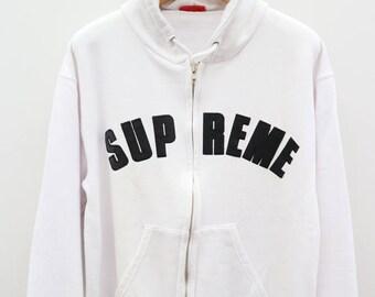 Vintage SUPREME Big Spell Streetwear White Hoodies Sweater Sweatshirts