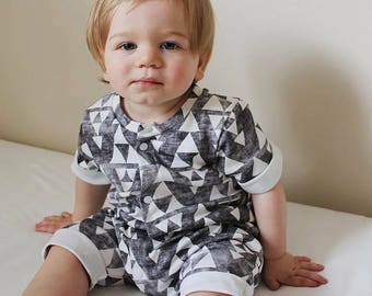 Organic Cotton Rolled Hem Romper for Babies and Toddlers. Triangle or Diamond Romper. Monochrome One Piece Romper. Toddler Clothing.