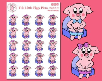 Potty Training Planner Stickers - Kids Planner Stickers - Parenting Planner Stickers - Potty Training - Piglets - Pigs - [Piglets 1-03]
