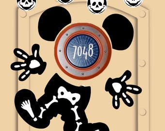 Disney Cruise Door Magnets Skeleton Mickey Mouse for Halloween  (not paper) with personlized Mickey & Minnie magnets for family