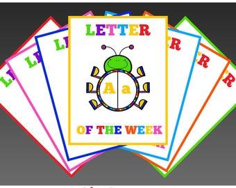 Letter Of The Week Posters Instant Download PDF; Preschool, Kindergarten, School