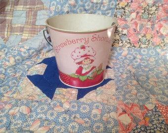 Vintage Strawberry Shortcake Tin Litho Pail