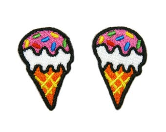 Ice Cream Patches Dessert Patch Applique Embroidered Iron on Patch