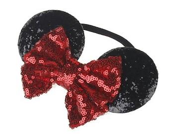 Child Mickey Minnie Disney mouse ears glitter sequin headband. Disneyworld,  baby disney, disneyland, mickey mouse, elastic.