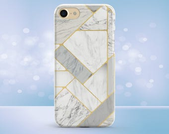 iPhone 7 Plus Case, iPhone 7 Case, iPhone 6 Case, iPhone 8 Case, iPhone 8 Plus Case, iPhone X Case, White and Gold, Marble Phone Case
