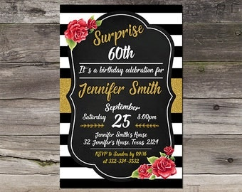 Surprise 60th Birthday Invitation For Women, Birthday Invite, Party Invite, Printable, Digital File - 086