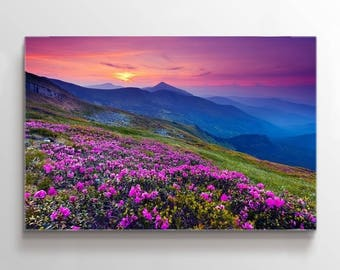 Large Wall Art Landscape Canvas Print - Purple Flowers on the Top of Mountain at Sunset