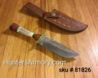"8"" Hand Forged Damascus Knife w Handmade Leather Sheath & Deer Antler Handle"