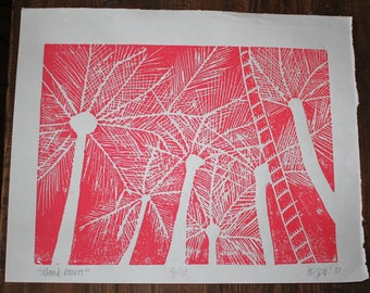 Palm Trees at Sunset Print - Red 2