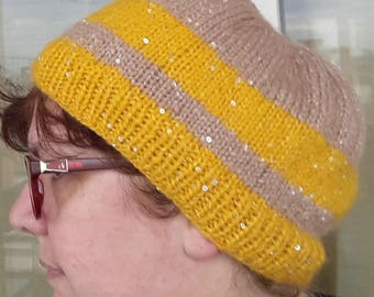 Yellow adult hat with gold/Brown glossy sequins