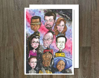 Star Trek, The Next Generation, Eco Friendly, Cult Caricature Greeting Card