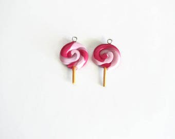 set of two pink polymer clay lollipop charms