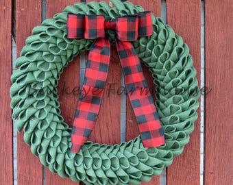 Christmas Burlap Petal Wreath