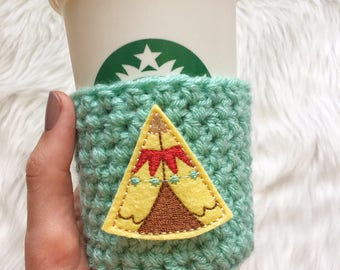 Tipi Cup Sleeve, Tipi Coffee Cozy, Tipi Gift, Teepee Cup Sleeve, Teepee Coffee Cozy, Teepee Gift
