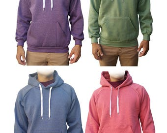 Plain Drawstring Fleece Hoodie Blue/Green/Pink/Purple