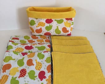 Yellow WASHABLE wipes and birds