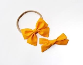 Citrus | Baby headband set, Baby bow Headbands, Small Bows, Baby Bows, Newborn headbands, Nylon Headbands, Baby hair bows, orange baby bow