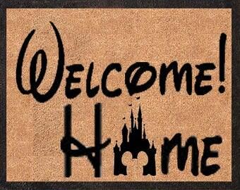 Welcome Home! Castle Silhouette! Custom Disney DoorMats, Great for a Wedding, Anniversary, Birthdays, Housewarming, or Graduation Present!