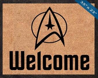 Welcome w/ Star Trek Symbol! Custom Star Trek Door Mats, Great for a Wedding, Anniversary, Birthdays, Housewarming, or Graduation Present!