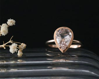Bezel Ring 11*8mm Pear Cut Natural Peach Morganite Ring Gemstone Bridal Ring Stackable Promise Ring 14K Rose Gold Morganite Engagement Ring