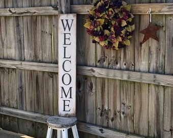 """Vertical welcome sign, rustic vertical welcome sign, farmhouse sign, entryway sign, 40"""" x 7.25"""""""