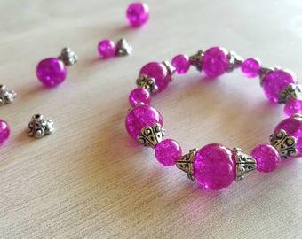 Beaded bracelet, fushcia bracelet, pink bracelet, fushcia jewelry, pink jewelry, elegant bracelet, elegant jewelry, stretchy bracelet, gift