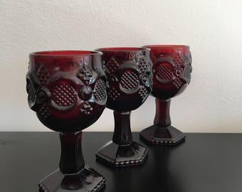 Vintage, Avon, Cape Cod, Goblets,Wine Glasses, Ruby Red,Glass, Pressed Glass, Red, Red Glass,Cape Cod Collection,Collectible,Art Deco Design