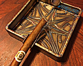 "CIGAR ASh-TRAY  fractal design  stainless steel TIG welded   6x6""."