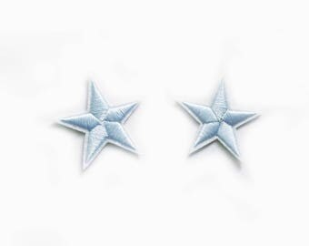2x light blue stars military pinup Rockabilly fashion custom Iron On Embroidered Patch Applique Star rock tattoo