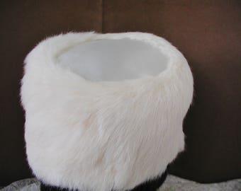 Vintage White Rabbit Fur Hat with White Satin Top