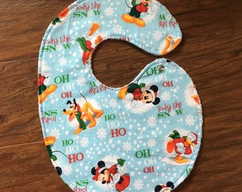 Baby Girl Bib, Baby Boy Bib, Baby Shower Gift, Winter Bib, Mickey Bib, Pluto Bib, Donald Duck Bib, Snow Bib, Handmade, Baby Branch Boutique