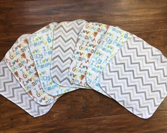 Baby Wipes, Baby Washcloths, 7-Pack Washcloths, Love Washcloths, Flannel Wipes, Cloth Wipes, Baby Shower Gift, Baby Branch Boutique