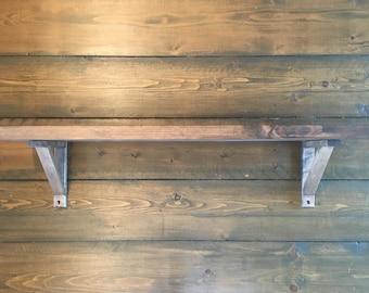 2x12 Pine Wood Shelf with Brackets