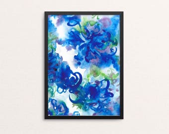 In full bloom - giclee art print, colourful art print, watercolour art, abstract painting