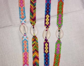Cowry shell bracelet, Braided bracelet, Knotted bracelet, Wrist band, Bracelet bresilien, Friendship bracelet, Bohemian style,Summer bracele