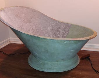 1800s Portable Galvanized Cowboy Bathtub