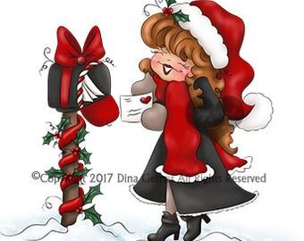 Digi Doodles Christabelle Christmas Winter Digi Stamp Instant Download Digital Stamp