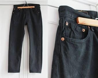 LEVI 501 Vintage High Waisted Classic Black Jeans Trousers Denim Women Men Unisex Pants Retro 1980s Fashion W32 L30 / Large size
