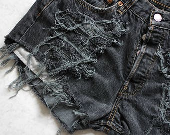 High Waisted Denim LEVI'S Shorts Destroyed Ripped Jeans Vintage Cut Off Black Summer Festival Clothing Women Girls W27 / Small size