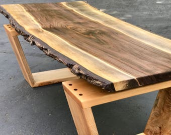 Live Edge Coffee Table, Black Walnut And Maple Coffee Table, Floating Slab  Coffee Table
