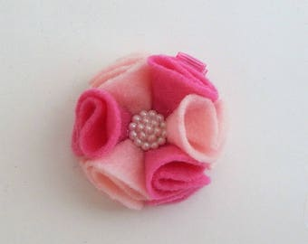 Pink felt flower hair clip